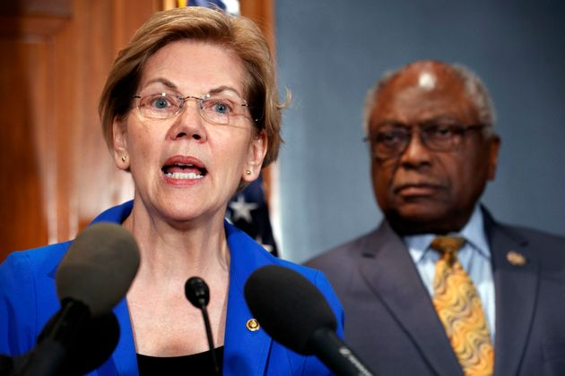 Sen. Elizabeth Warren and Rep. James Clyburn speak about a bill to cancel student loan debt at a Capitol...