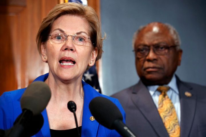 Sen. Elizabeth Warren and Rep. James Clyburn speak about a bill to cancel student loan debt at a Capitol Hill press conferenc