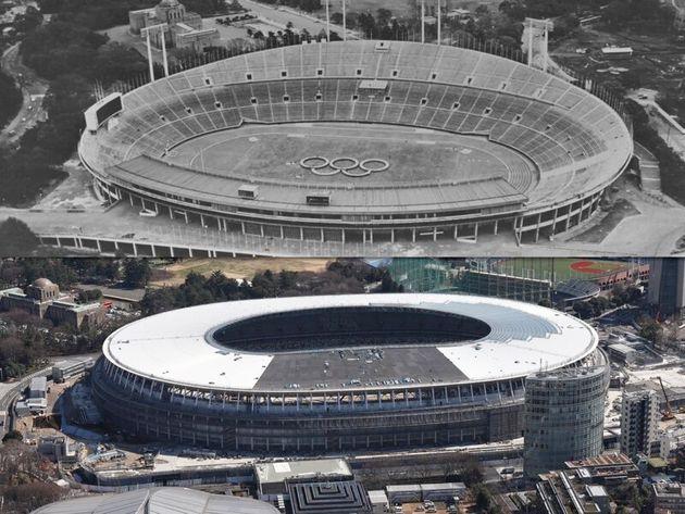 国立競技場(上)と新国立競技場(下)