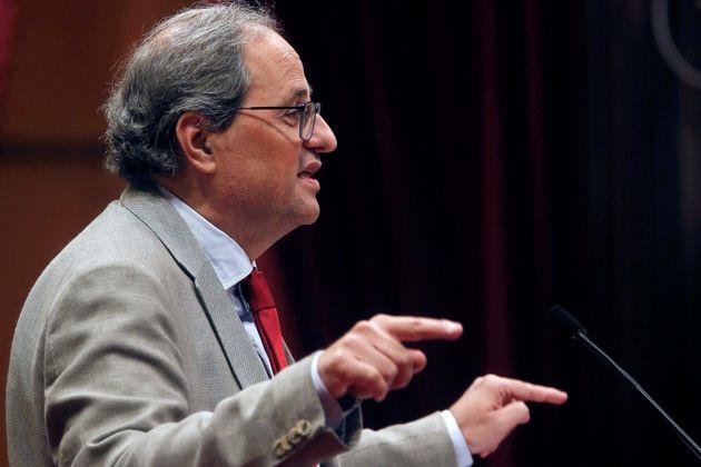 Torra pide a Podemos defender la autodeterminación en la negociación con