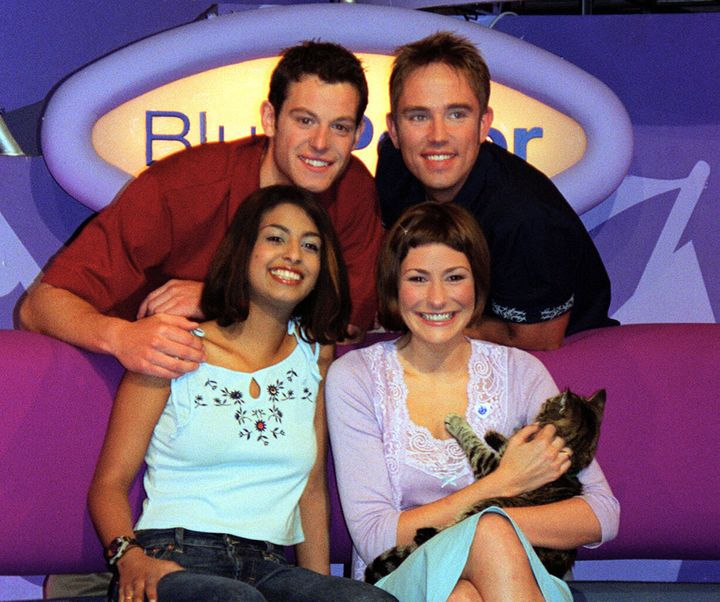 Konnie Huq with fellow Blue Peter presenters in 2004.