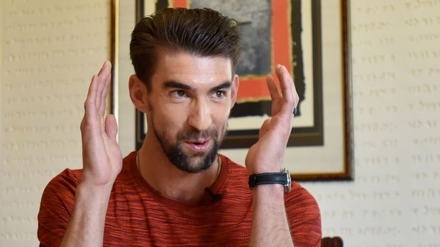 NEW DELHI, INDIA - MARCH 26: Former Olympic swimmer Michael Phelps during an interview at ITC Maurya Hotel on March 26, 2019 in New Delhi, India. (Photo by Sanjeev Verma/Hindustan Times via Getty Images)