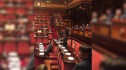 Conte parla in Senato, banchi 5 stelle semivuoti in polemica con