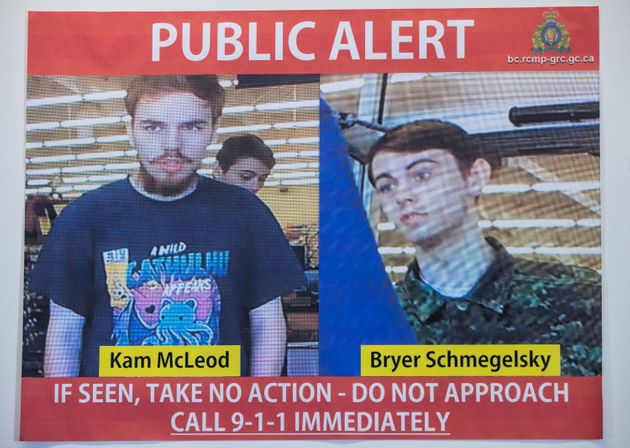 Security camera images recorded in Saskatchewan of Kam McLeod, 19, and Bryer Schmegelsky, 18, are displayed...