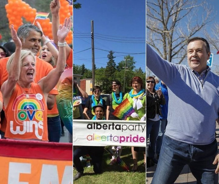 Alberta NDP leader Rachel Notley at Calgary Pride in 2018, members of the Alberta Party at a 2018 Edmonton Pride event and Alberta UCP leader and Premier Jason Kenney at a rally.