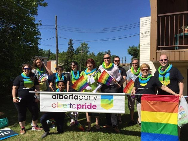 Members of the Alberta Party pictured at Pride celebrations in Edmonton in