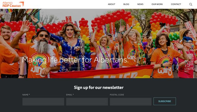 A screenshot of the front page of the official Alberta NDP caucus