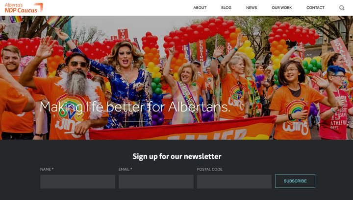 A screenshot of the front page of the official Alberta NDP caucus website.