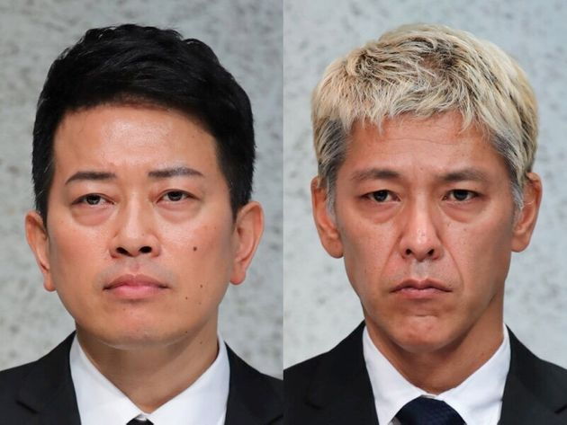 反社会的勢力との関わりをめぐる謝罪会見を開いた宮迫博之さん(左)と田村亮さん=7月20日