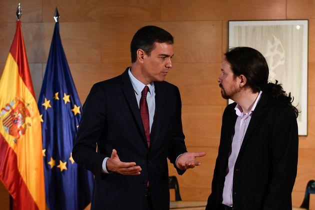 Pedro Sánchez y Pablo Iglesias, reunidos en el Congreso el pasado 9 de