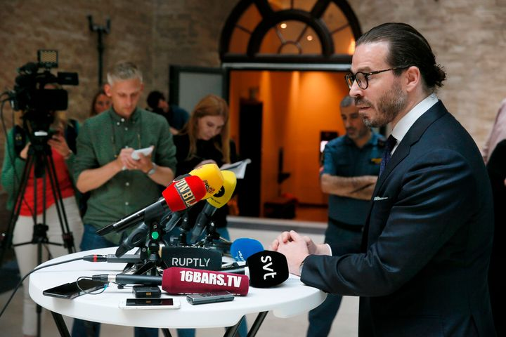 Slobodan Jovicic, A$AP Rocky's lawyer, speaks to the media in Stockholm, Sweden, on July 19.