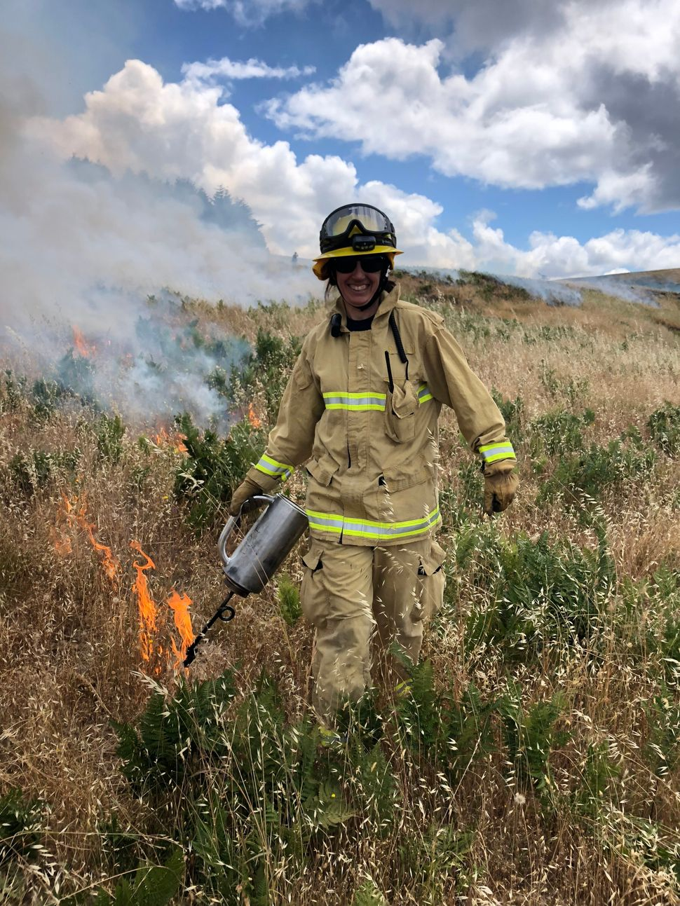 Jennifer Renner, local veterinarian and volunteer firefighter, on a PBA burn in late June 2019.