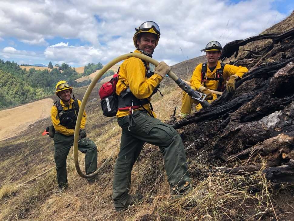 Members of the Briceland Volunteer Fire Department. Kai Ostrow, far left, was recently hired as a southern Humboldt liaison f