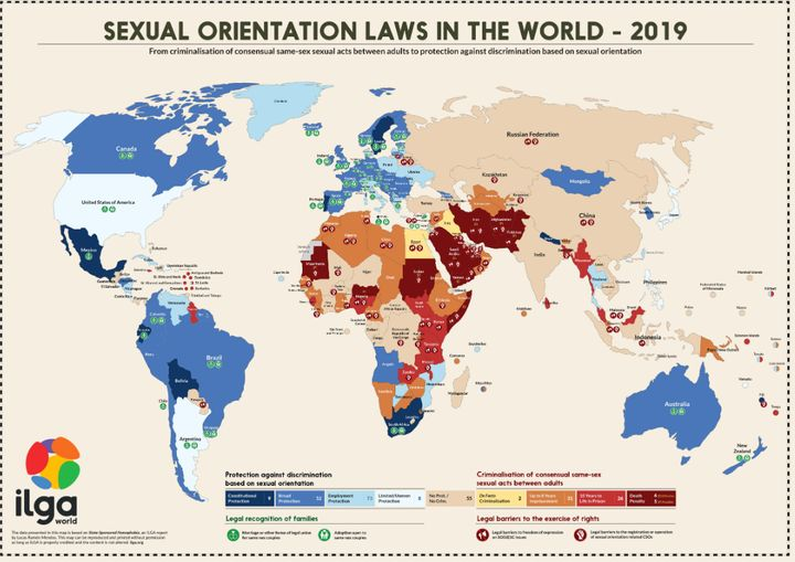 Les lois dans le monde, par rapport aux orientations sexuelles.
