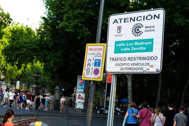 Señalización de Madrid Central, en el centro de la capital de