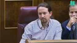 El gesto de Pablo Iglesias tras esta frase de Pedro Sánchez: no se puede expresar más con