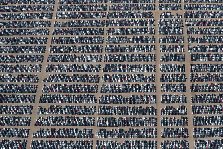 Reacquired Volkswagen and Audi diesel cars sit in a desert graveyard near Victorville, California, in 2018. Volkswagen AG has