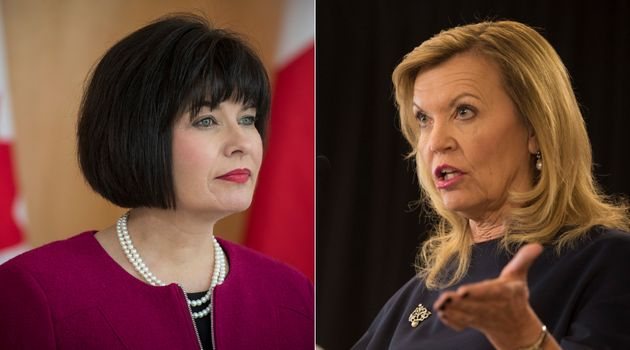 Federal Health Minister Ginette Petitpas Taylor and Ontario Health Minister Christine Elliott are shown...