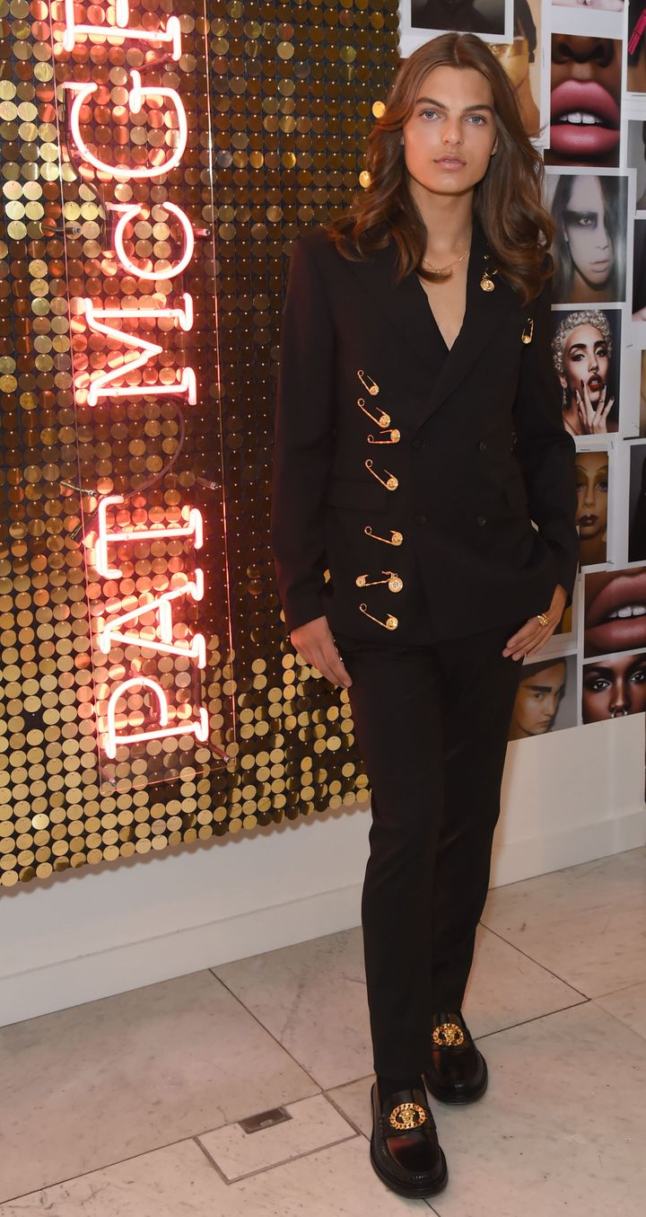 "Damian Hurley launches the new Pat McGrath Labs product range, ""Sublime Perfection: The System,"" at Selfridges on July 25 in"
