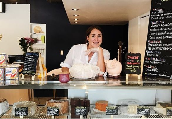 Author Aleana Young two years ago on the opening day of her artisanal cheese shop in Regina, Sask.