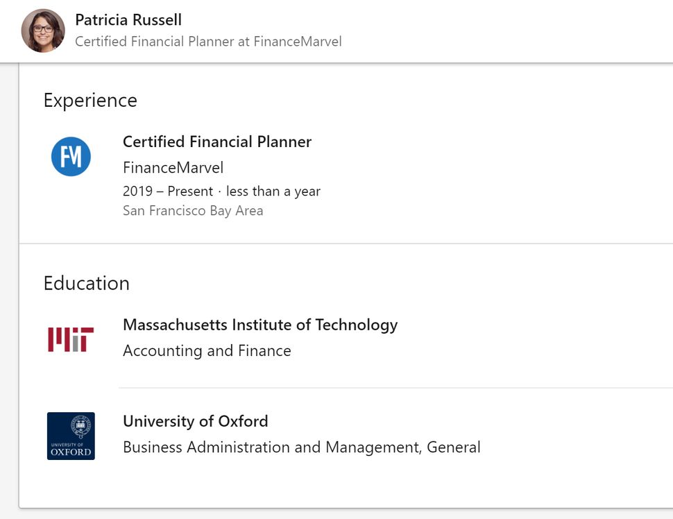 Patricia Russell's LinkedIn profile, complete with a stock photo (but not the Yale experience she claims on her bio).