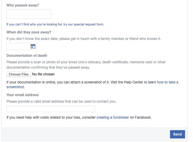 Facebook's memorialization form asks users to provide proof of the person's death.