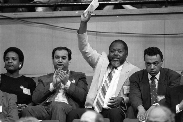 [L-R] Diane Abbott, Keith Vaz, Bernie Grant and Paul Boateng shortly after being elected in