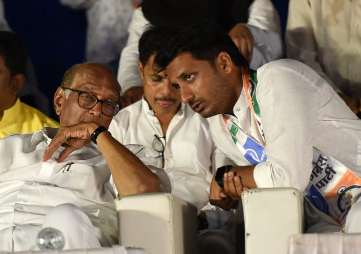 Parth Pawar with Sharad Pawar in a file photo
