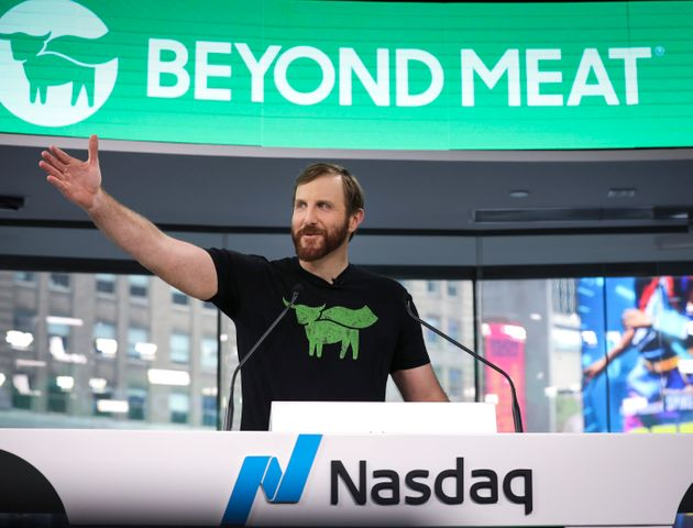 Beyond Meat CEO Ethan Brown speaks before ringing the opening bell at Nasdaq on May 2. The company was...