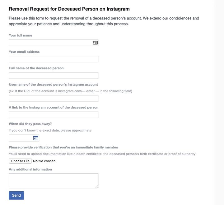 Instagram's form for removing an account requires you to provide documentation of the deceased person's death.