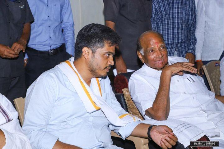 Rohit Pawar with Sharad Pawar during his Marathwada tour