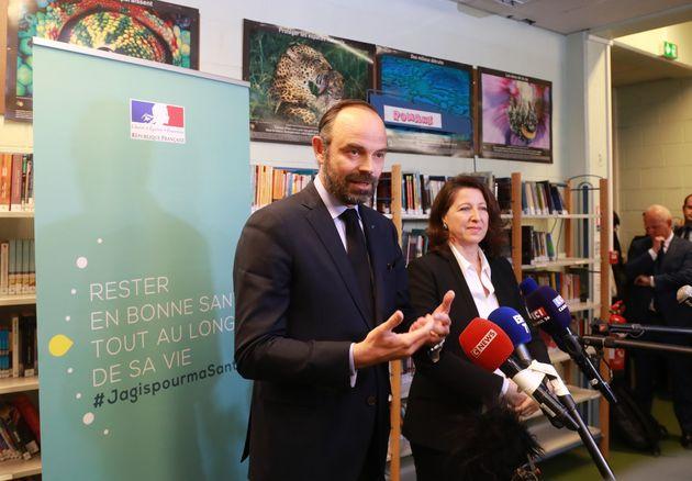 Édouard Philippe et Agnès Buzyn à Noisiel (Seine-et-Marne) le 25 mars