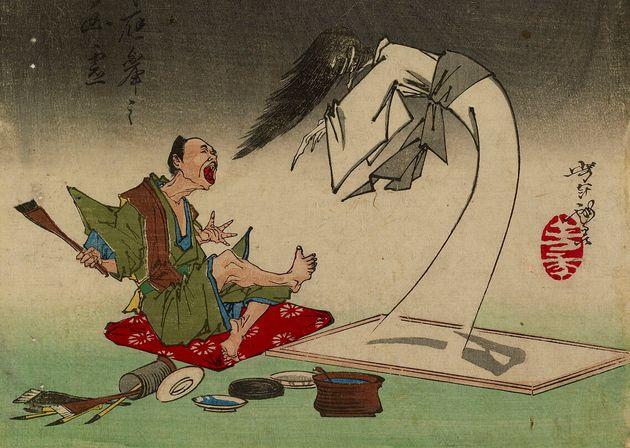 明治時代に活躍した浮世絵師・月岡芳年が描いた「応挙の幽霊」より。