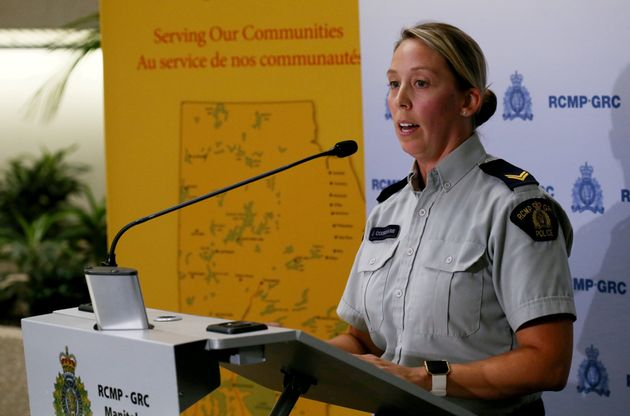 RCMP Cpl. Julie Courchaine addresses the media during a news conference in Winnipeg on July 24, 2019....