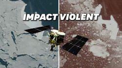 L'impact de la sonde Hayabusa2 avec un astéroïde comme si vous y