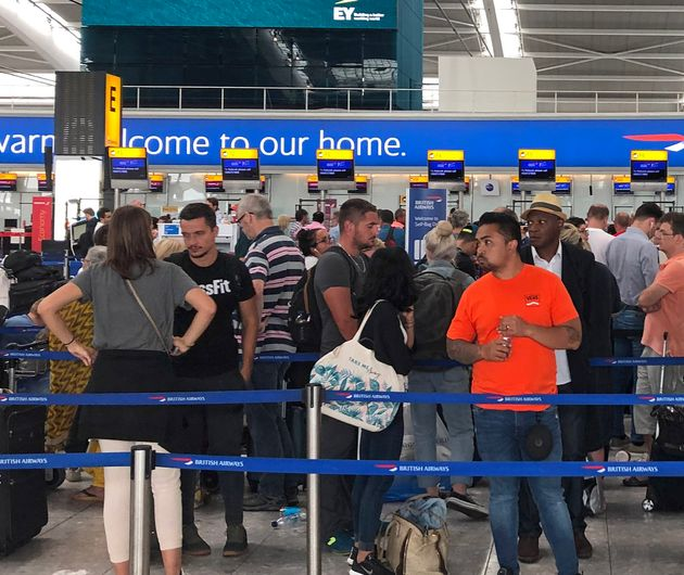 Queues mounted at Heathrow as a combination of bad weather and control glitches affected