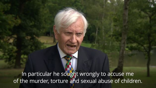 Harvey Proctor making a statement after the conviction of Beech earlier this