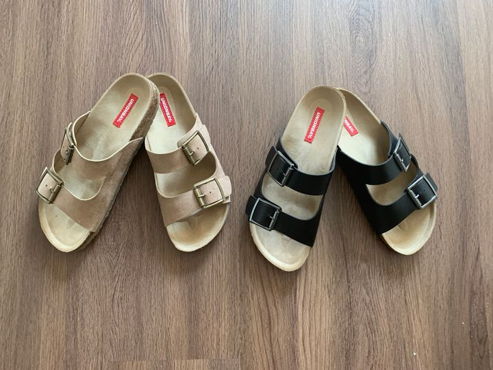 These UNIONBAY sandals look like Birkenstocks but are available on Amazon for a fraction of the price.