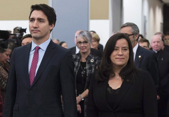 Prime MinisterJustinTrudeauand Jody Wilson-Raybouldtake part in the grand entrance as the final report of the Truth and Reconciliation commission is released in Ottawa on Dec. 15, 2015.