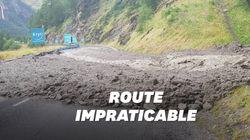 Les images du déluge de grêle qui a arrêté la 19e étape du Tour de
