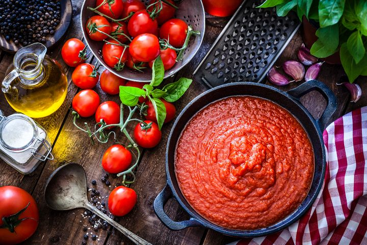 Compared to raw tomatoes, cooked tomatoes contain about three times more lycopene, a phytonutrient that lowers the risk of heart attack and some cancers.