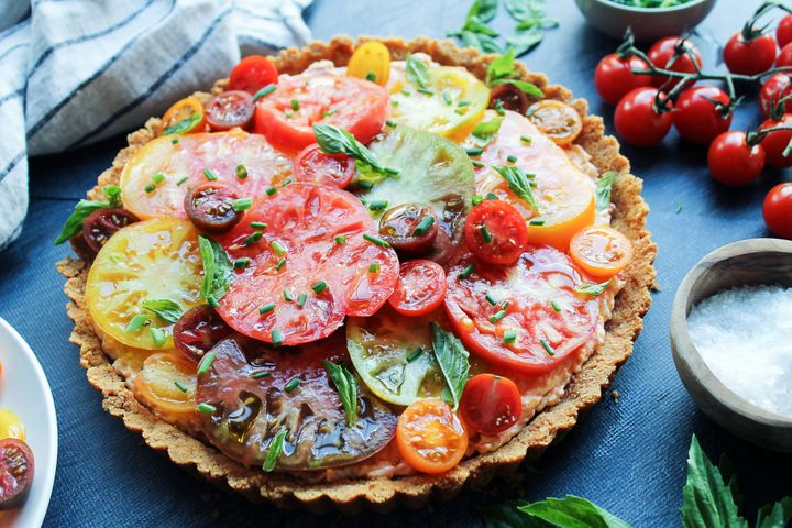 Pimento Cheese And Heirloom Tomato Tart With Ritz Cracker Crust