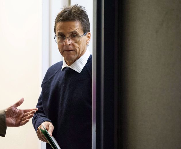 Hassan Diab arrives for a press conference on the French Court of Appeal's decision in his case on Parliament Hill in Ottawa on Friday, Oct. 26, 2018.