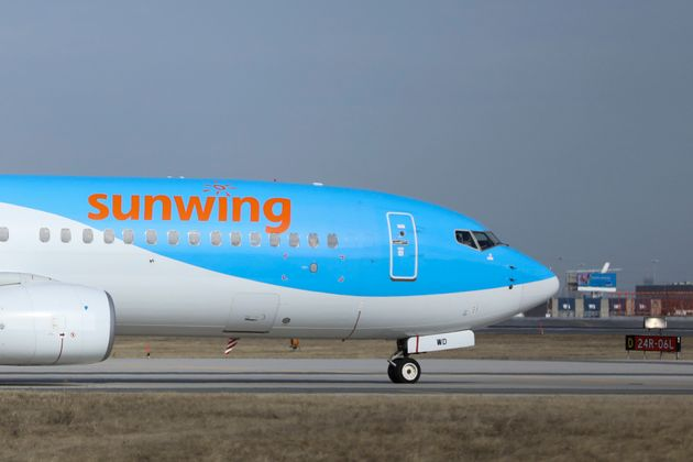 A Sunwing aircraft is seen here at Toronto Pearson International Airport in Mississauga,