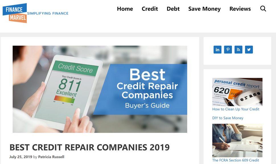 FinanceMarvel heavily promotes credit repair companies.