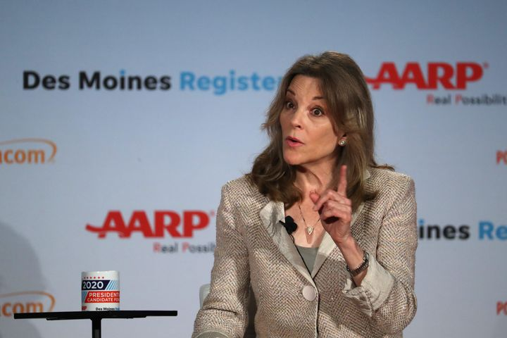 Democratic presidential candidate Marianne Williamson defended a tweet from last year in which she criticized antidepressants