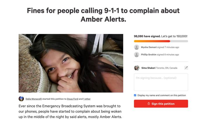 A screenshot of the change.org petition calling for people to be fined if they call 911 to complain about Amber Alerts.
