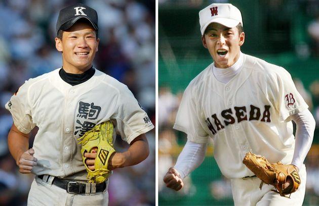 延長戦を投げ合った両投手。写真左は試合後、応援席に笑顔であいさつに向かう駒大苫小牧の田中将大。同右は最後の打者を三振に打ち取り、雄たけびを上げる早稲田実業の斎藤佑樹=2006年08月20日、甲子園球場