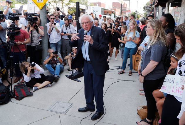 Sen. Bernie Sanders and a busload of insulin patients stopped in Windsor, Ont. on July 28, 2018...