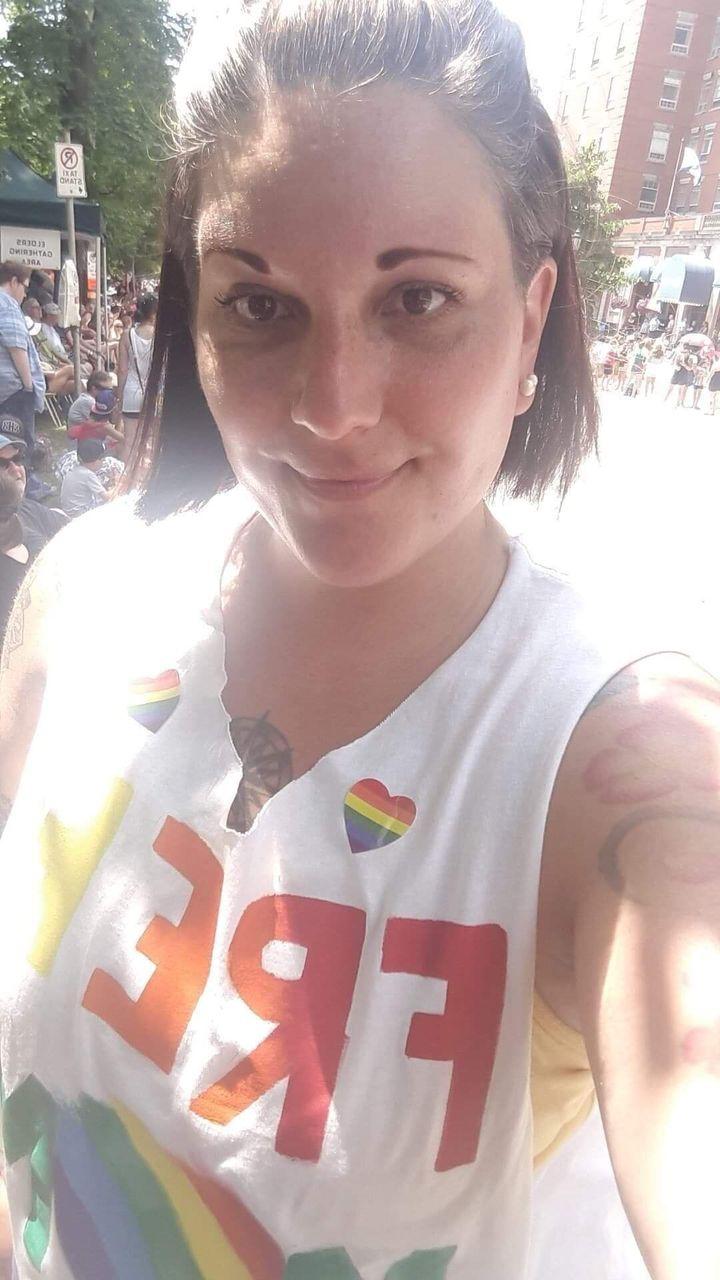 "Kristy Fournier wearing her ""free hugs"" shirt at Halifax Pride on July 20."